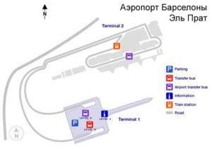 Схема аэропорта Барселона Эль Прат