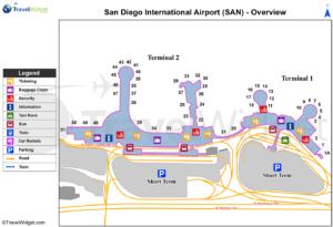 Схема аэропорта Сан Диего
