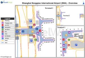 Схема аэропорта Шанхай Хунцяо