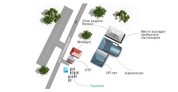 Схема пассажирского терминала и привокзальной площади аэропорта Геленджик