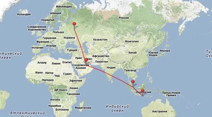 Перелет Москва - Бали около 10 часов