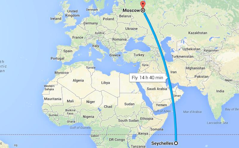 Карта перелёта из Москвы до Сейшельских островов