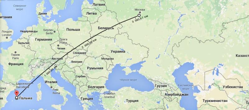 Карта перелёта Москва - Пальма де Майорка