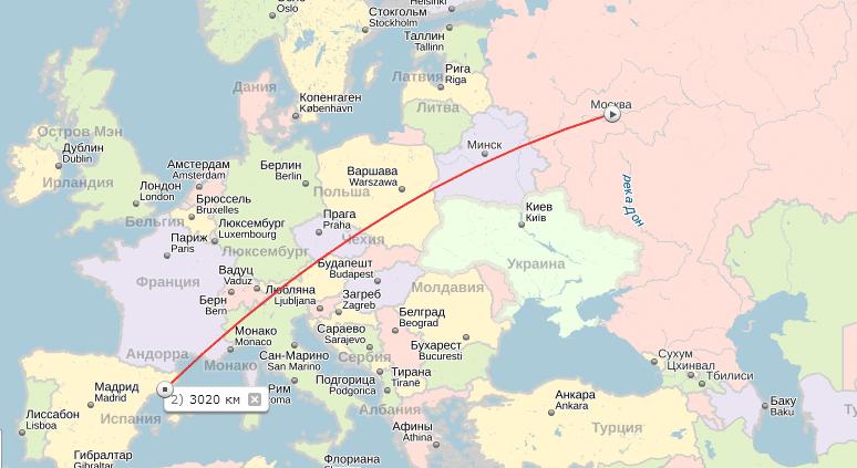 Карта перелёта Москва - Барселона