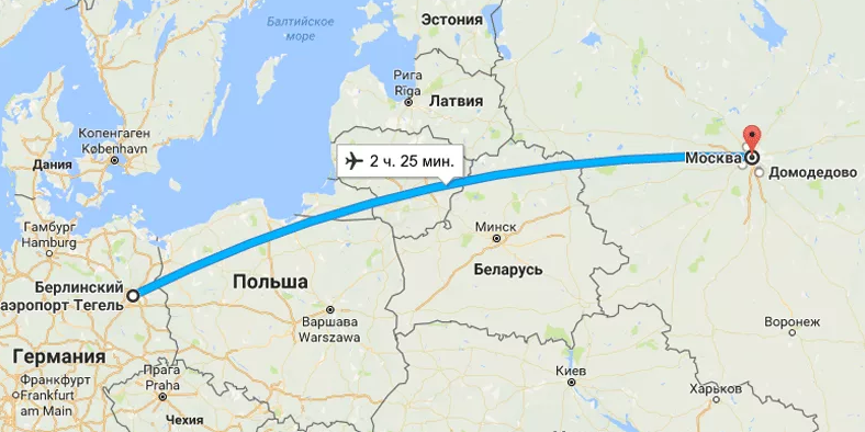 Карта полета Москва – Берлин